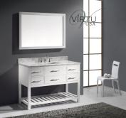 Virtu USA MS-2248-WMSQ-WH Transitional 120cm Single Sink Bathroom Vanity Set, White
