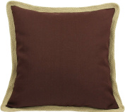Manor Luxe Square Classic Jute Trimmed Solid Colour Feather Filled Throw Pillow, 50cm , Chocolate