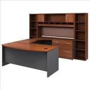 Bush Furniture Corsa Series U-Shape Office Suite in Hansen Cherry