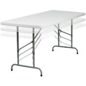 Flash Furniture 80cm W x 180cm L Height Adjustable Granite White Plastic Folding Table