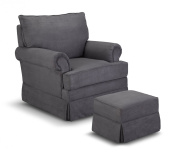 Thomasville Kids Grand Royale Upholstered Swivel Glider and Ottoman, Grey