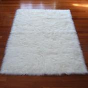 White Polar Bear Sheepskin Rectangle Faux Fur Rug - Made in France (2x 4