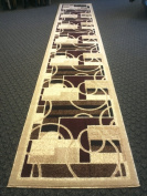 Modern Long Runner Rug 80cm . X 4.6m Beige Design # 115