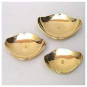 SET of Three Solid Brass Pillar Candle Plates - 14cm , 15cm , 18cm