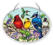 Amia 41053 Hand Painted Bevelled Glass 23cm by 17cm Oval Sun Catcher, Multiple Birds on Rail Design, Large