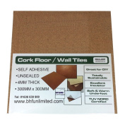 25 X NATURAL CORK TILES (SELF ADHESIVE) FOR FLOOR/WALL/DIY 300x300mm