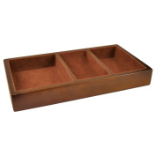 Woltar 28cm Wooden Valet Tray - Brown - 3 Compartment Leatherette Organiser Box for Wallets, Coins, Keys, and Jewellery