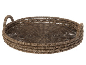 KOUBOO Round Serving Tray in Lampakanay and Wicker
