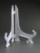 18cm Tall Clear Frosted Plastic Display Stand Easels or Plate Holders - Pack of 12 Easels to Display Dinner Plates, Pictures or Other Items