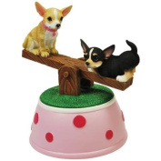 Chihuahua Puppies Musical See-Saw Figurine with Red & Pink Spot Design