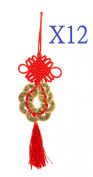 BFlowerYan 12x Chinese Feng Shui 8 Coin Hanger for Prosperity and Good Fortune