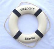 Welcome Aboard Cloth Life Ring Navy Accent Nautical Decor 34cm New - Decoration Only