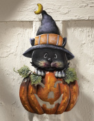Pumpkin W/ Kitten Halloween Metal Door Decoration