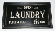 Open...Laundry Fluff & Fold 5 cents Load Vintage Look Framed Wood Sign
