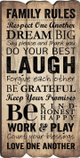 Family Rules Fence Post Art Decorative Wall Plaque - 15cm x 29cm - Made in USA