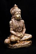 Hand Carved Meditating God Hanuman Resin Idol Sculpture Statue Size 15cm x 10cm