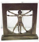 Vitruvian Man By Leonardo Da Vinci Male Nude Figure Bronze Powder Cast Statue 22cm