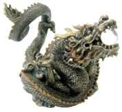 Bronze Resin Chinese Dragon with Crystal Sphere