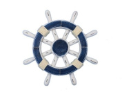 Handcrafted Nautical Decor Rustic Dark Blue and White Ship Wheel, 30cm