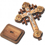 Layered olive wood Cross carved by Laser with Holy Land samples - standing or hanging ( 12 cm or 5 inches ) Small / Certificate