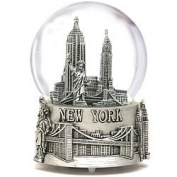 Musical Silver New York City Snow Globe with Sculpture Base, 15cm