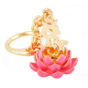 Feng Shui Bejewelled Hum on Pink Lotus Keychain Amulet Sku:W1026