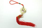 Red Feng Shui Horse Medallion with Bell Tassel for Good Fortune
