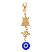 Fengshui Victory Banner with Evil Eye Keychain Ring Amulet W1055