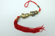 Red Feng Shui 2 Cats with Fish Good Luck Tassel