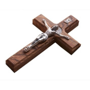 25cm Wall Wood Cross St. Saint Benedict & Medal Holy Land Handmade Silver Plated Crucifix
