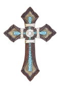TOOLED LEATHER TURQUOISE CROSS STONE