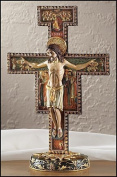 Large Standing San Damiano Marble Resin Cross Crucifix Religious Home Decor 28cm