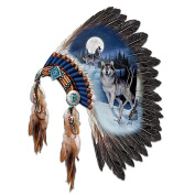 Replica Warrior Headdress With Wolf Art Wall Decor