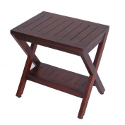 Teak Shower Bench with Shelf- FULLY ASSSEMBLED- Obliquity- Shower, Bath, Spa