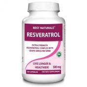 Best Naturals -- Resveratrol Complex Featuring Grape Skin, Red Wine, Quercetin, Polygonum Cuspidatum -- 60 Vcaps