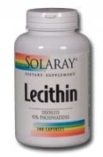 Solaray Lecithin Oil-Free Capsules 1000mg, 100 Count