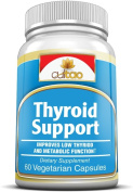 Premium Thyroid Support Supplements w/ L-Tyrosine, Iodine (From Kelp), Green Tea Leaf Extract, Guggulipid, Bacopa monniera , Selenium And Vitamin A, B6, C & D - 100% Natural Herbal Formula For Complete Thyroid Gland Functional Support - Promote Thyroid ..