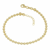 18 Karat Yellow Gold Over Sterling Silver Diamond-Cut Bead Adjustable Bracelet