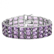 60.00 Carat (ctw) Sterling Silver Real Emerald Cut Genuine Amethyst Ladies Tennis Bracelet