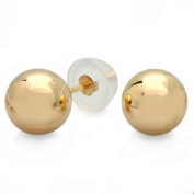 14k Yellow Gold Small Baby Teeny Tiny Petite Solid Ball Stud Earrings with Safety Silicone Gold Pushback -