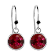2.02 Ct Round Red Created Ruby Black Diamond 925 Sterling Silver Earrings