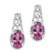 1.00 Ct Stunning 6X4mm Oval Mystic Pink Topaz 925 Sterling Silver Earrings
