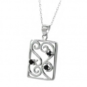 0.15 Ct Round Black Diamond Sterling Silver Pendant 46cm Sterling Silver Chain