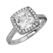 14k White Gold Plated Sterling Silver 2.25 CTW Equivalent Princess Halo Wedding Engagement Ring
