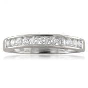 18k White Gold 11-Stone Round Diamond Bridal Wedding Band Ring