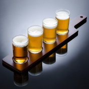 Brewpub Beer Tasting Flight Set with Paddle and 4 Mini Glasses
