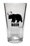 Beer Bear Pint Glass -- Bear + Deer = BEER. -- Official Funny Guy Mugs™ Product