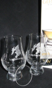 LAPHROAIG TWIN PACK GLENCAIRN SCOTCH MALT WHISKY TASTING GLASSES WITH TWO WATCH GLASS COVERS