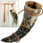 Snakeskin Burnt Mediaeval Viking Norman Leather String Holder Beer Drinking Horn