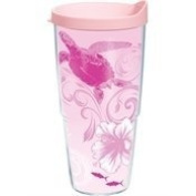 Tervis Tumbler with Pink Lid, 710ml, Guy Harvey Pink Ribbon Turtle